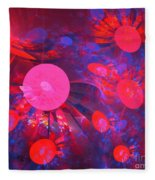 Ruby Blue Rays Fleece Blanket