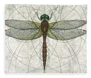Ruby Meadowhawk Dragonfly Fleece Blanket