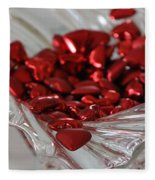 Ruby Red Hearts And Crystal Fleece Blanket