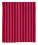 Ruby Red Striped Pattern Design Fleece Blanket