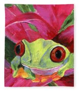 Ruby The Red Eyed Tree Frog Fleece Blanket