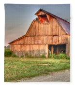 Ruddish Barn At Dawn Fleece Blanket