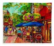 Rue Prince Arthur Montreal Fleece Blanket
