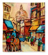 Rue St Jacques Old Montreal Streets  Fleece Blanket