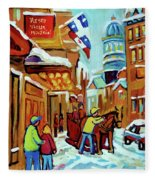 Rue St Paul Montreal Streetscene Cafes And Caleche Fleece Blanket