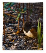 Rufous Sided Towhee At A Glance Fleece Blanket
