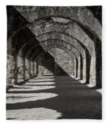 Ruins Of San Jose-black And White Fleece Blanket