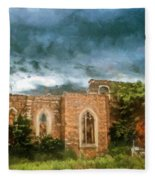 Ruins Under Stormy Clouds Fleece Blanket