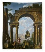 Ruins With The Statue Of Marcus Aurelius Giovanni Paolo Panini Fleece Blanket