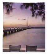 Rum Point Beach Chairs At Dusk Fleece Blanket