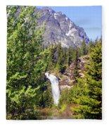 Running Eagle Falls Glacier National Park Fleece Blanket