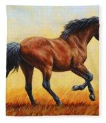 Running Horse - Evening Fire Fleece Blanket