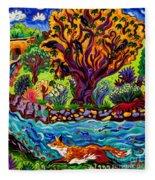 Running River, Running Fox Fleece Blanket