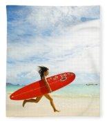 Running With Surfboard Fleece Blanket