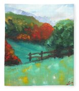 Rural Autumn Landscape Fleece Blanket