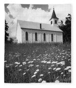 Rural Church In Field Of Daisies Fleece Blanket