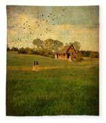 Rural Cottage Fleece Blanket