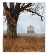Rural Farmhouse And Large Tree Fleece Blanket
