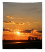 Rural Il Sunset Reflections Fleece Blanket