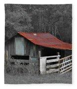 Rural Red - Red Roof Barn Rustic Country Rural Fleece Blanket