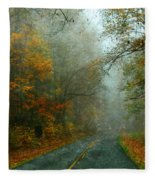 Rural Road In North Carolina With Autumn Colors Fleece Blanket