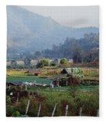 Rural Scene Near Chiang Mai, Thailand Fleece Blanket