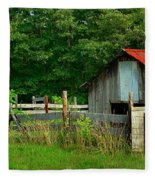 Rural Serenity - Red Roof Barn Rustic Country Rural Fleece Blanket