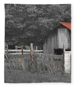 Rural Serenity Black And White Version - Red Roof Barn Rustic Country Rural Fleece Blanket