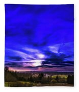 Rural Sunset Panorama Fleece Blanket