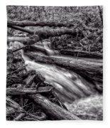 Rushing Stream - Bw Fleece Blanket