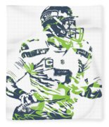 Russell Wilson Seattle Seahawks Pixel Art 10 Fleece Blanket