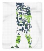 Russell Wilson Seattle Seahawks Pixel Art 11 Fleece Blanket