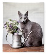 Russian Blue 02 Fleece Blanket