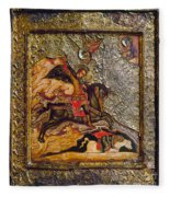 Russian Icon: Demetrius Fleece Blanket