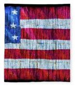 Rustic American Flag Fleece Blanket