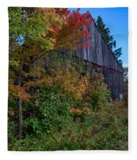 Rustic Barn Above The Fall Colors Fleece Blanket