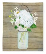 Rustic Country White Hydrangea N Matillija Poppy Mason Jar Bouquet On Wooden Fence Fleece Blanket