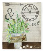 Rustic Farmhouse Our Happy Place Fleece Blanket