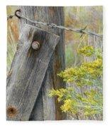 Rustic Fence And Wild Flowers Montana Fleece Blanket