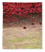 Rustic Poppy Garden Fleece Blanket