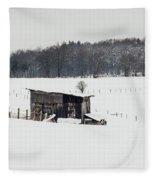 Rustic Shed In The Winter Fleece Blanket