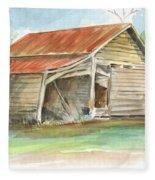 Rustic Southern Barn Fleece Blanket