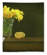 Rustic Still Life With Daffodils Fleece Blanket