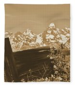 Rustic View Of Grand Teton Fleece Blanket