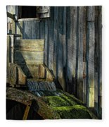 Rustic Water Wheel With Moss Fleece Blanket