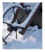 Rustic Wheel In The Snow#2 Fleece Blanket