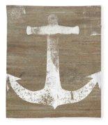 Rustic White Anchor- Art By Linda Woods Fleece Blanket