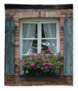 Rustic Window And Red Bricks Wall Fleece Blanket