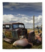 Rusty Auto Wreck Out West Fleece Blanket