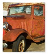 Rusty Chevrolet Pickup Truck 1934 Fleece Blanket